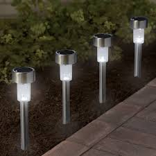8 pack stainless steel outdoor led solar garden stake lights