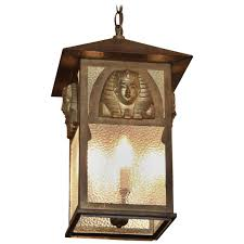 1900s egyptian pharaoh revival style lantern with textured glass
