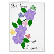 floral 10th anniversary greeting cards zazzle