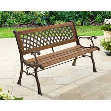 better homes and gardens lattice bench antique bronze natural
