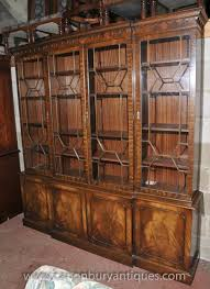 Mahogany Bookcases Uk Display Cabinet Breakfront Bookcase
