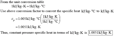 Specific Heat Table The Constant Pressure Specific Heat Of Air At 25 C Is 1 005 Kj Kg