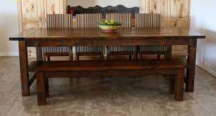 rectangle brown polished block dining table with bench and striped furniture rectangle brown polished block dining table with bench and striped chair on ceramics flooring