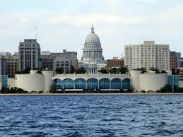 monona terrace and wisconsin state capitol madison wi around