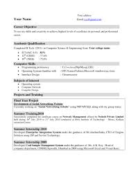 Resume Examples Cover Letter Template For Objective Resume