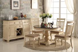 charming casual country buttermilk two tone 5 piece round dining