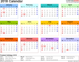 template 8 2018 calendar for pdf year at a glance 1 page in