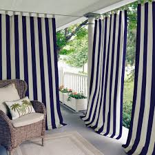 Navy Window Curtains Elrene Highland Stripe 50 In W X 84 In L Indoor Outdoor Tab Top