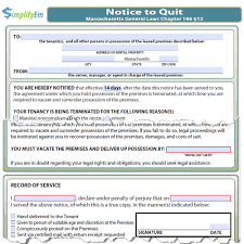Notice To Terminate Tenancy Sample by Massachusetts Notice To Quit