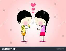 cartoon romantic boy giving flower stock vector 293523278