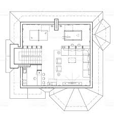 architectural plan the attic floor in the cottage architectural plan of a house