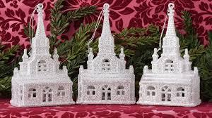 set of 6 glittered church ornaments robertson