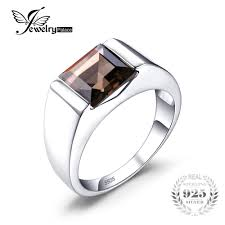 silver wedding ring jewelrypalace men s square 2 2ct genuine smoky quartz wedding ring