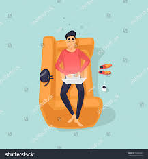 young man lying on couch laptop stock vector 563860327 shutterstock