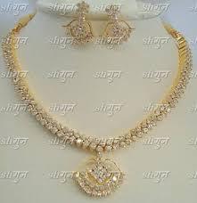gold stone necklace images Necklace set shagun cz gold stones necklace set shopclues jpg