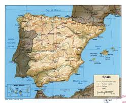 Spain Map World by Large Scale Political Map Of Spain With Relief Roads Railroads