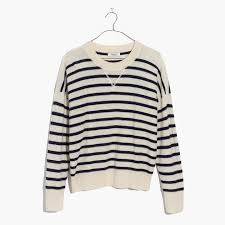 madewell cashmere sweatshirt in stripe madewell black friday
