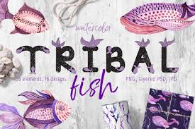 tribal fish watercolor set in illustrations on yellow images