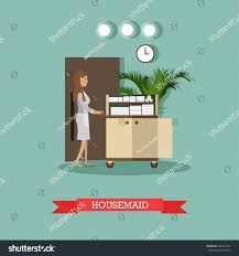 hotel housemaid vector illustration cleaning lady stock vector