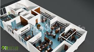 modern office 3d floor plan for commercial services yantram