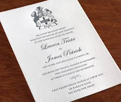 Classic Wedding Invitations Classic Letterpress Wedding Invitation Family Crest Invitations