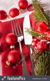 served tables red themed christmas place setting stock picture