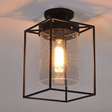 Flush To Ceiling Light Fixtures Seedy Glass Shade Ceiling Fixture Metal Wire Cage Semi Flush