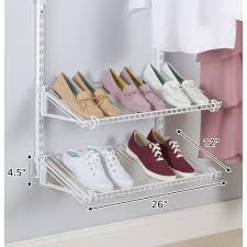 rubbermaid configurations white add on shoe shelf kit fg3h9403wht
