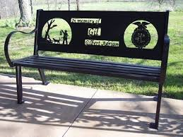 Personalized Park Bench Custom Outdoor Benches By Hooper Hill Custom Metal Designs Made