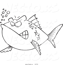 vector of a cartoon mad fish outlined coloring page drawing by