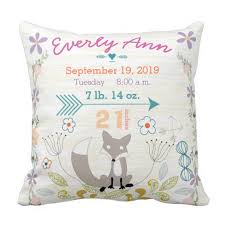 personalized pillows for baby personalized woodland baby stats pillows let s personalize that