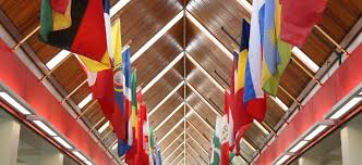 Flag Hanging International Students Corning Community College