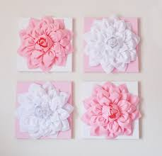 nursery wall decor set of four light pink and white flower