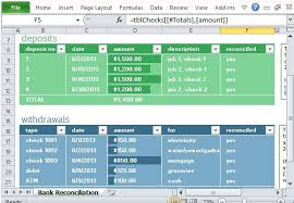 Excel Tables Templates Monthly Bank Reconciliation Template For Excel