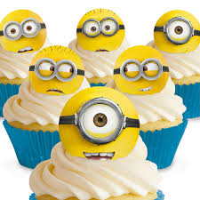 Minion Cake Decorations 24 Minions Cupcake Toppers Amazon Co Uk Kitchen U0026 Home
