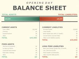 Template For A Balance Sheet by Opening Day Balance Sheet Office Templates