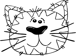Clip Art Cat Face Coloring Page Mycoloring Free Printable