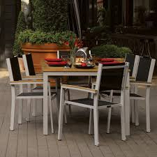 Stackable Chairs For Dining Area Travira 7 Piece Aluminum Patio Dining Set W Black Sling Stacking