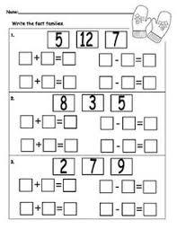 finding fact families worksheet kindergarten math pinterest