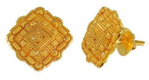 gold earrings tops 22k gold tops ajer50110 22k gold tops with intricate filigree