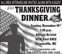 free thanksgiving dinner hayesville carolina