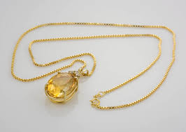 gold necklace box images 14k yellow gold box link chain with citrine quartz diamond JPG
