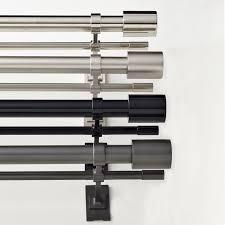Large Curtain Rod Brackets Oversized Adjustable Metal Double Rod West Elm