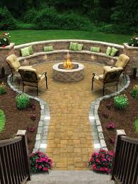 outdoor living best outdoor fireplace seating idea with round