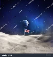 American Flag On The Moon American Flag On Moon Earth Background Stock Illustration