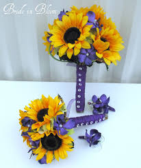 wedding flowers sunflowers 4 wedding bouquet set sunflower purple orchid silk wedding