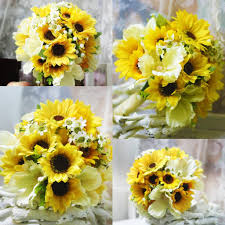 cheap silk flowers country sunflower artificial wedding bouquets 2018 high