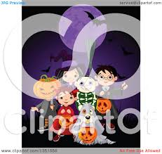 clipart of a group of kids in jack witch wizard skeleton and