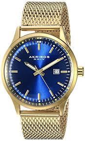 gold tone bracelet watches images Akribos xxiv men 39 s ak901rgbu blue dial gold tone jpg