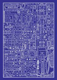 Map Of Downtown Washington Dc by 1949 Vintage Map Of Downtown Washington Dc Blueprint Map Print